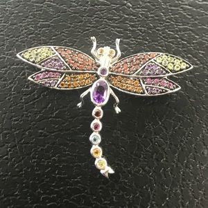 Jewelry - 925 colorful gemstoned Dragonfly pendant